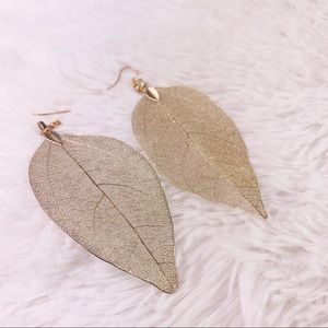 Gold Leaf French Wire Earrings